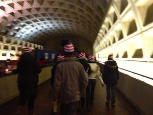 Patriots in beanies head for the inauguration.