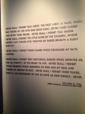 This inscription is found within the National Holocaust Museum.