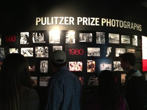 Visitors experience the Newseum's Pulitzer Prize room.