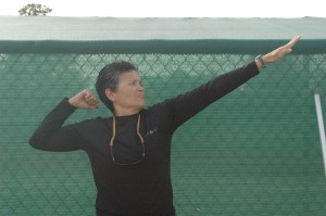 Coach and P.E. teacher Marie Gray reminds students to always aim high. Photo by Tyler Quan.