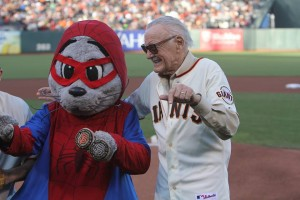 Stan Lee meets Giants' mascot Lou  Seal in a Spider-Man costume.