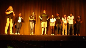 The winners of the battle line up on stage