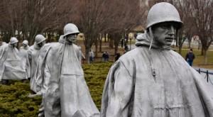 The Korean War Memorial features statues of American soldiers.