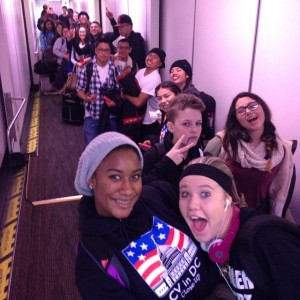 Castro Valley High students board a plane headed for  Washington, D.C.