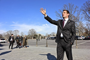 Swalwell voiced his opposition to the Keystone oil pipeline. Photo by Maia Samboy.