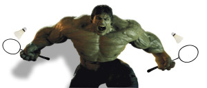"This ""Hulking"" badminton player could not be identified but is suspected of steroid use."