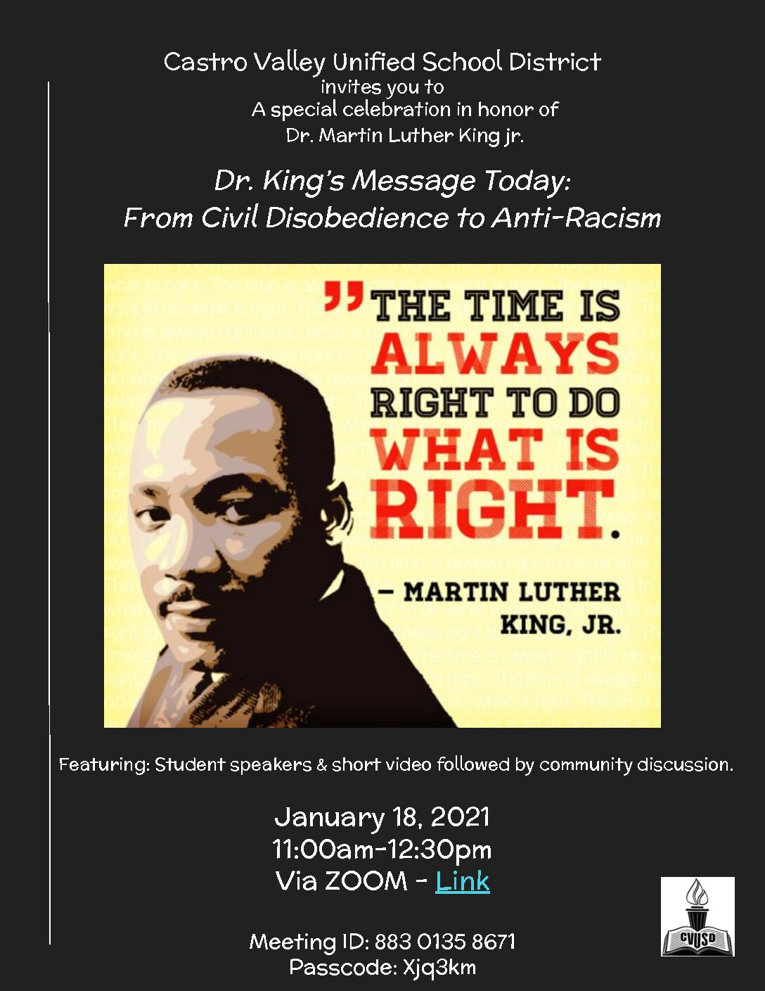 """King event planned: """"Do what is right"""""""